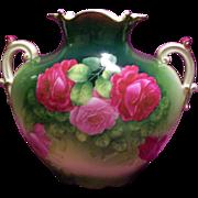SALE Large Germany Hand Painted Limoges Rose Pillow Vase,Artist Signed