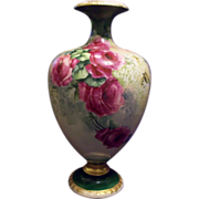 SALE American Belleek Hand Painted Rose Lilac Vase Ewer Urn, Ca 1890s