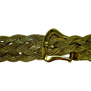 Vintage Woven & Braided Bracelet Solid Belt Buckle Clasp 10 Karat Yellow Gold 8.5 Inches Long