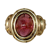 Estate Jewelry Kathy Bates Vintage English Pink Tourmaline  Ring
