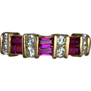 Ruby and Diamond Vintage Anniversary Band Kathy Bates Estate