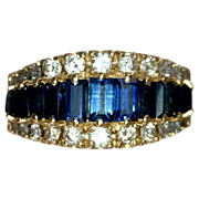 Estate Jewelry Kathy Bates Vintage Blue Sapphire Diamond Ring