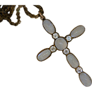 Moonstones Euro-Cut Diamonds Cross Pendant and Watch Chain 10 Karat Gold