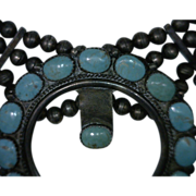 Squash Blossom Turquoise Silver Necklace Vintage Native American 32 Inches Long