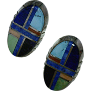Colorful Navajo Mosaic Inlay Post Earrings Vintage