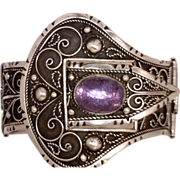Amazing Belt and Buckle Victorian-Style Wide Bracelet Cast in Sterling Silver 925 Features a H