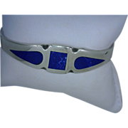 Lapis Lazuli Inlay Vintage Mexican Sterling Silver Bracelet