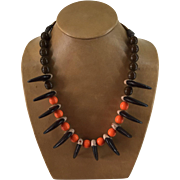 Bear Claws, Orange, Brown Crow Beads Necklace Vintage Native American 12 Wood Carved Claws 29