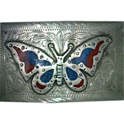 Butterfly Inlay Alpaca Belt Buckle Vintage Mexican