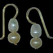 Cultured Freshwater Pearl Dangle Drop Earrings, White, Dark Champagne, 14 Karat Gold Findings,