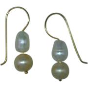 "Pearl Dangle Earrings ""Peach and White"" 14 Karat Gold Custom"