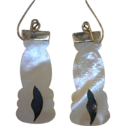 "Antique Mother-of-Pearl and Inlay Silver Leaf Design Earrings ""Promised Collection"""