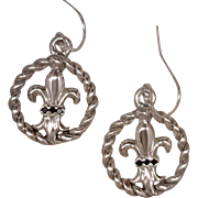 Artisan Earrings Fleur de Lis Emblem Inset In An Open Twisted Frame 925 Sterling Silver Accent