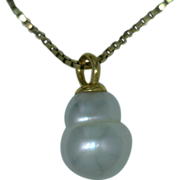 "Pearl Pendant Cultured Southwater Pearl Australian Silvery White 18K Pendant ""The Snowman"