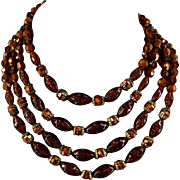 Vintage Amber Copper Gold Plastic Bead Necklace 4 Strands 13.5 Inches with 2.5 Inches Chain Ex