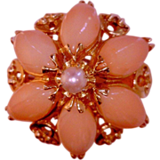 Coral Marquises Dome Ring Vintage Angel Skin  Pearl 14 Karat Gold Rin