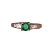 Classic Round Emerald & Baguette Diamond Ring 14 Karat White Gold