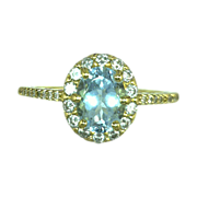 Jewelry Artisan Custom Ring 18 Karat Gold Genuine Oval Aquamarine  Diamond 18kt Gold Ring