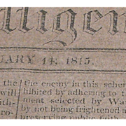 Jefferson Library, Monticello, 1815 Newspaper