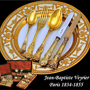 Veyrier: Spectacular 102 PC French Sterling Vermeil Flatware Service