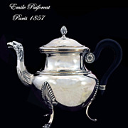 SOLD Emile Puiforcat: Eagle! Antique French Sterling Silver Tea Pot