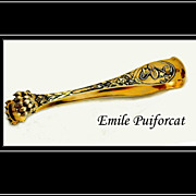 SOLD Emile Puiforcat: Antique Sterling Silver Vermeil Art Nouveau Tongs