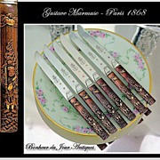 SOLD MARMUSE: Antique French Silver & Kozuka Knife Set for 6 Royal Provenance