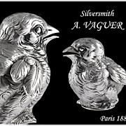 SOLD VAGUER : Antique French Sterling Silver Figural Bird Salt Cellar