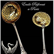 SOLD Puiforcat: Antique French Empire Swan Pattern Sterling & Vermeil Sugar Sifter Spoon