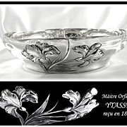 SOLD YTASSE : Antique French Art Nouveau Sterling Silver 'IRIS' Serving Bowl / Dish