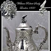 SOLD Smily: Antique Sterling Silver Coffee Pot Mascarons Circa 1850