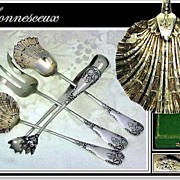 SOLD BONNESCOEUR: Antique French Silver Vermeil Hors d'-Oeuvres Set Boxed!