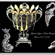 SALE PENDING Bompart: VR Antique French Sterling & Crystal Confiturier: Swans, Dolphins: 1819-