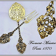 Froment-Meurice: Exquisite Antique French Vermeil Sterling Silver Pair Hors d'Oeuvres Serving