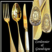 SOLD Cordonnier & Grandvigne: 36 PC French Sterling Vermeil Flatware Set