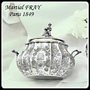 SOLD Martial FRAY: Rarest Chinoiserie Sterling Lidded Sugar Bowl France 1849