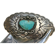 Amazing Native American Turquoise Sterling Silver Barrette 60's/70's