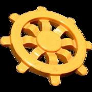 Bakelite Ships Wheel Nautical Butterscotch Brooch Pin 40's