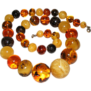 Huge Natural  Amber Necklace Beads Egg Yolk Honey Baltic 86 grams