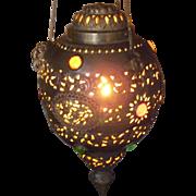 SOLD Vintage Brass Jeweled Hanging Filigree Lamp