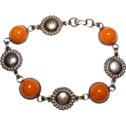 Lovely Butterscotch Amber Link Bracelet in Sterling Silver