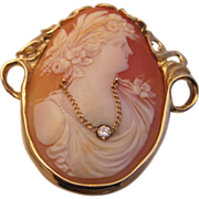 Dramatic 14K Shell Cameo with Diamond
