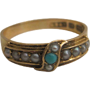 15K Hallmarked Turquoise and Pearl Ring