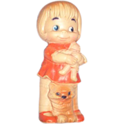 """SOLD 1968 Adorable 8"""" Doll with Cat"""