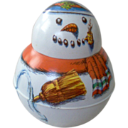 SOLD Rare Snowman Bristol Ware Roly Poly Collectible--Model of Tobacco Container - Red Tag Sal