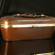 Antique Leather Sewing Box with Brass Mounts