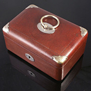 SOLD Victorian Leather Clad Sewing Box