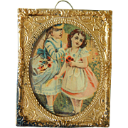 SALE Antique dollhouse framed lithograph girls w/flowers