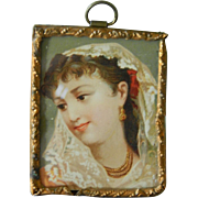Antique dollhouse framed lithograph pretty lady