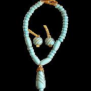 Rare antique turquoise glass jewelry Jumeau Bru